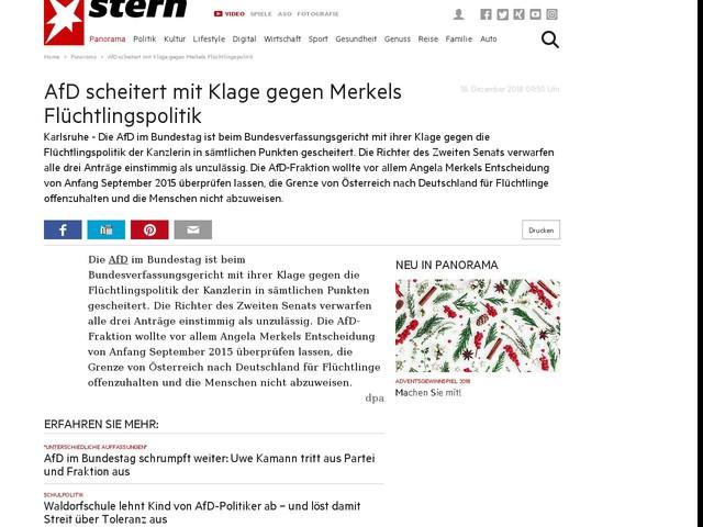 AfD scheitert mit Klage gegen Merkels Flüchtlingspolitik