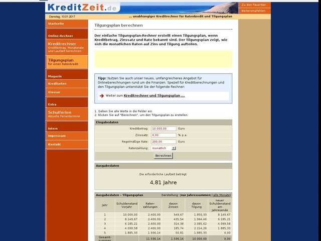 Tilgungsplan f?r einen Ratenkredit online berechnen