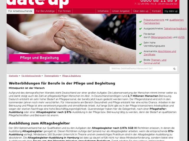 Geförderte Weiterbildungen in Pflege und Begleitung | date up training - date up