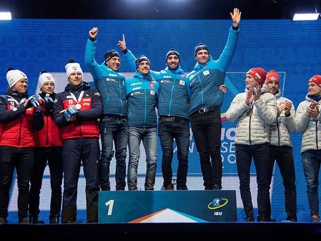 Biathlon-WM - die Siegerehrung aus Antholz