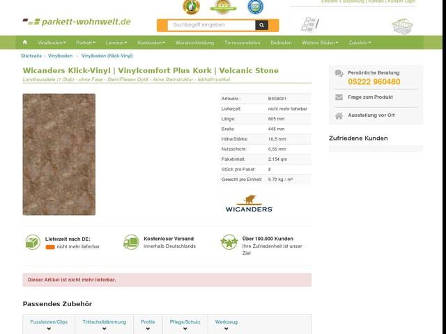Wicanders Vinylböden   Vinyl-Fertigparkett   Vinylcomfort Steinoptik (0,55mm Vinyl)   Volcanic Stone -