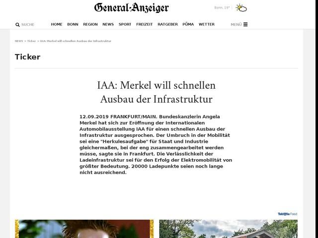 IAA:Merkel will schnellen Ausbau der Infrastruktur