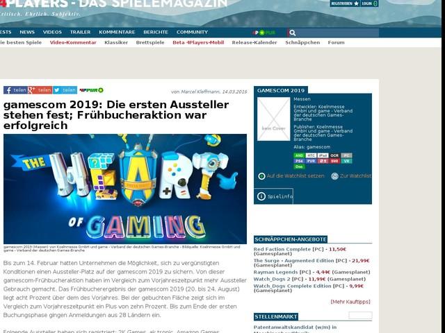 gamescom 2019: Die ersten Aussteller stehen fest; Frühbucheraktion war erfolgreich