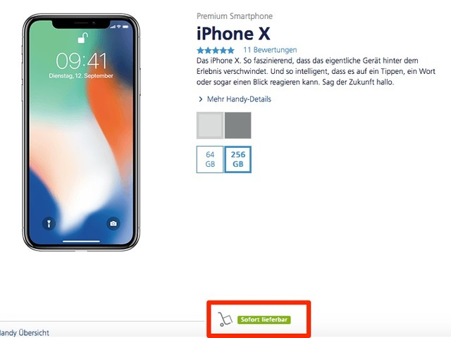 iPhone X sofort lieferbar