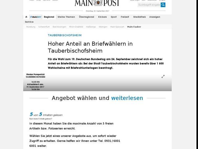 Hoher Anteil an Briefwählern in Tauberbischofsheim