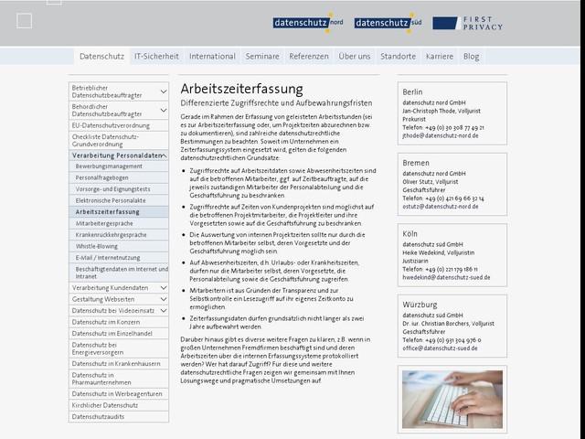 Arbeitszeiterfassung - datenschutz nord Gruppe