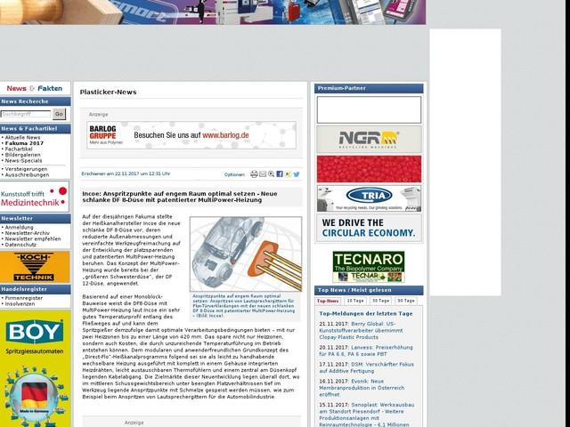 Incoe: Anspritzpunkte auf engem Raum optimal setzen - Neue schlanke DF 8-Düse mit patentierter MultiPower-Heizung