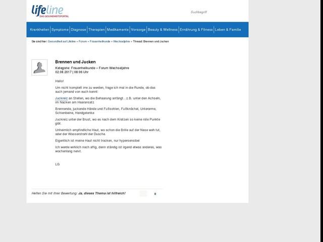 Brennen und Jucken   Forum Wechseljahre   Lifeline   Das Gesundheitsportal