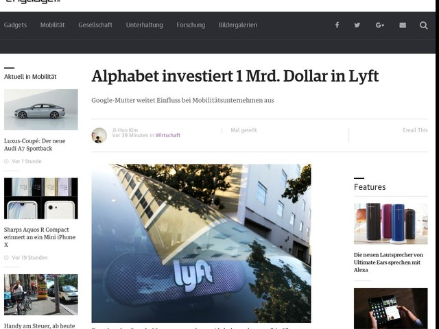 Alphabet investiert 1 Mrd. Dollar in Lyft