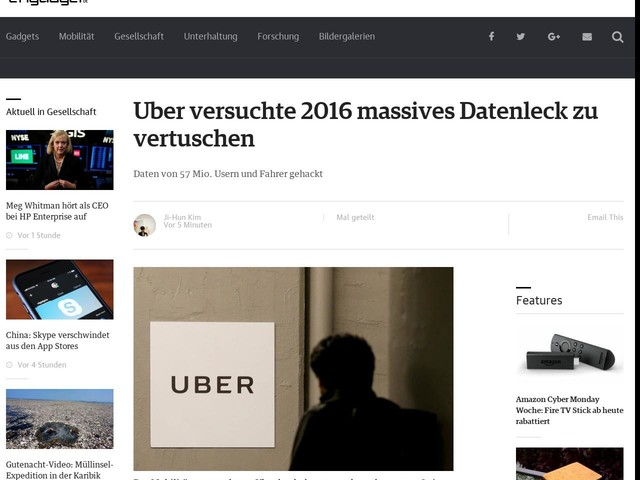Uber versuchte 2016 massives Datenleck zu vertuschen