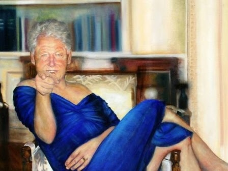 Bill Clinton in blauen Kleid und roten Pumps