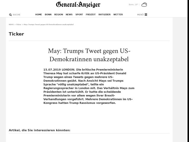 May: Trumps Tweet gegen US-Demokratinnen unakzeptabel