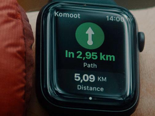 Outdoor-App Komoot auf der Apple Watch rundum erneuert