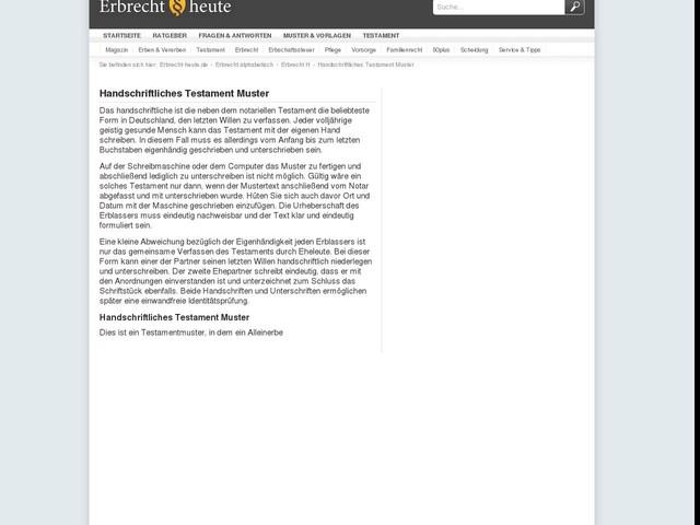 handschriftliches testament muster erbrecht heutede - Handschriftliches Testament Muster Kostenlos
