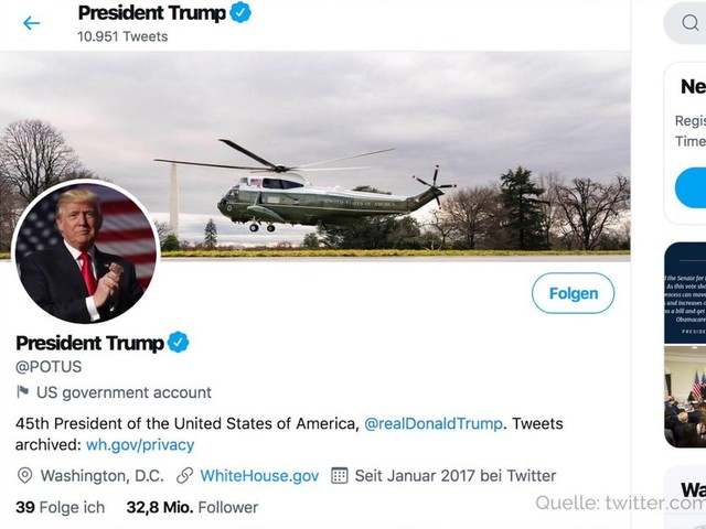 Twitter: Trump-Account geht bei Amtseinführung an Biden
