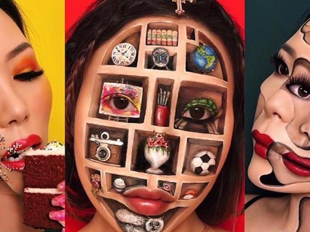 Mimi Choi präsentiert optische Illusionen auf dem eigenen Gesicht