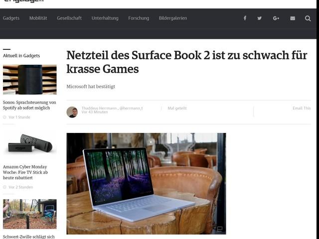 Netzteil des Surface Book 2 ist zu schwach für krasse Games