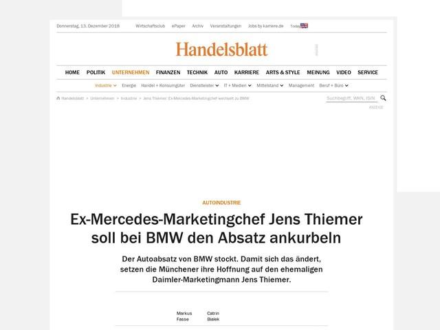 Autoindustrie: Ex-Mercedes-Marketingchef Jens Thiemer soll bei BMW den Absatz ankurbeln