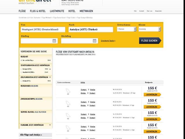 Flug Stuttgart [STR] nach Antalya [AYT] - günstige Flüge finden und buchen