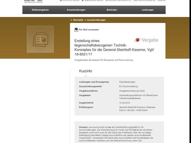 Erstellung eines liegenschaftsbezogenen Technik-Konzeptes für die General-Steinhoff-Kaserne, VgV 18-8321/17