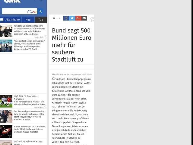 Bund sagt 500 Millionen Euro mehr für saubere Stadtluft zu