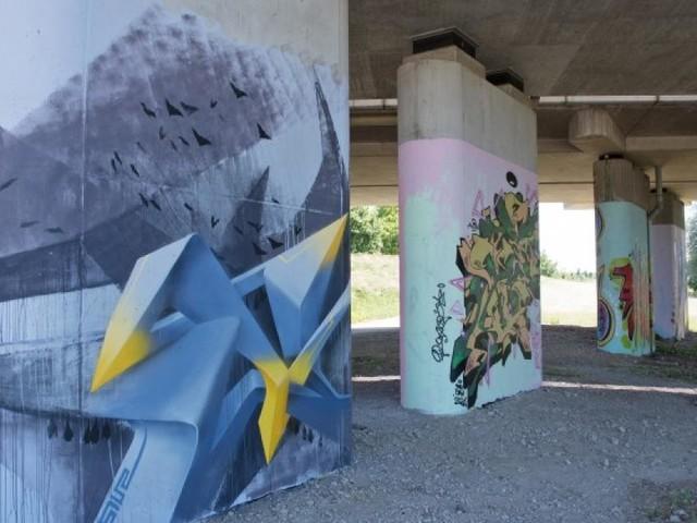 Aus Grau wird Bunt: 1.000 Quadratmeter besprayte Wände in St. Pölten