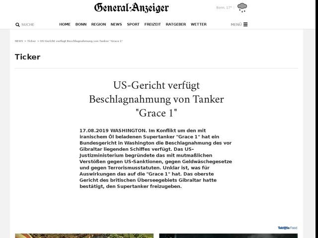 """US-Gericht verfügt Beschlagnahmung von Tanker """"Grace 1"""""""