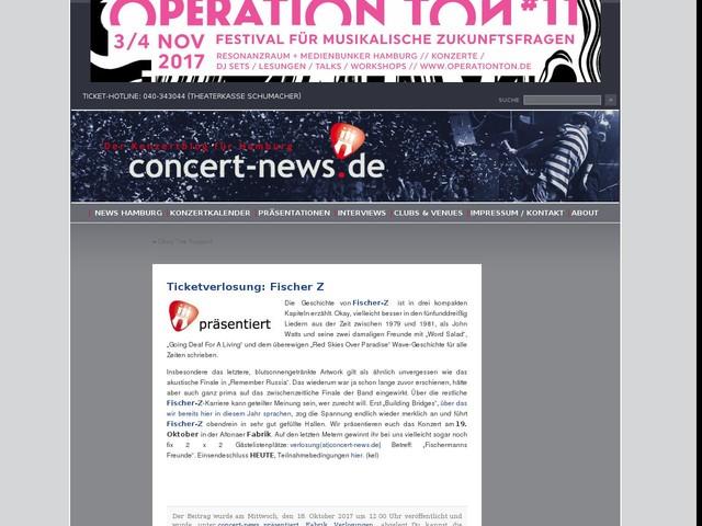 Ticketverlosung: Fischer Z