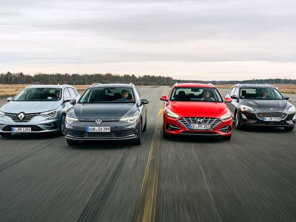 VW Golf, Ford Focus, Hyundai i30, Renault Mégane: Kombis im Test So schlägt sich der neue Golf Variant im ersten Vergleich