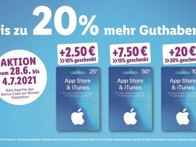 iTunes Karte bei Lidl günstiger: bis zu 20 Prozent Bonus-Guthaben