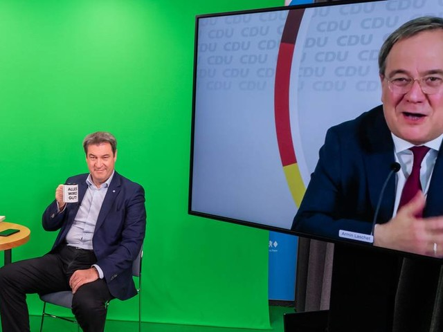 CSU-Programmkonferenz: Doppeldeutige Signale der Versöhnung zwischen Laschet und Söder
