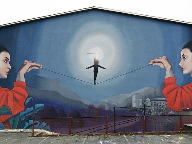 """""""Balance"""" – Neues Stück Wallart von Künstler Artez in Jesenice // Slowenien"""