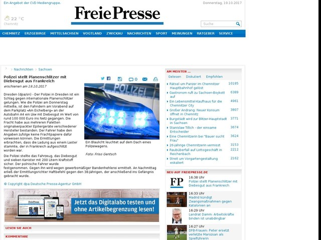 Polizei stellt Planenschlitzer mit Diebesgut aus Frankreich