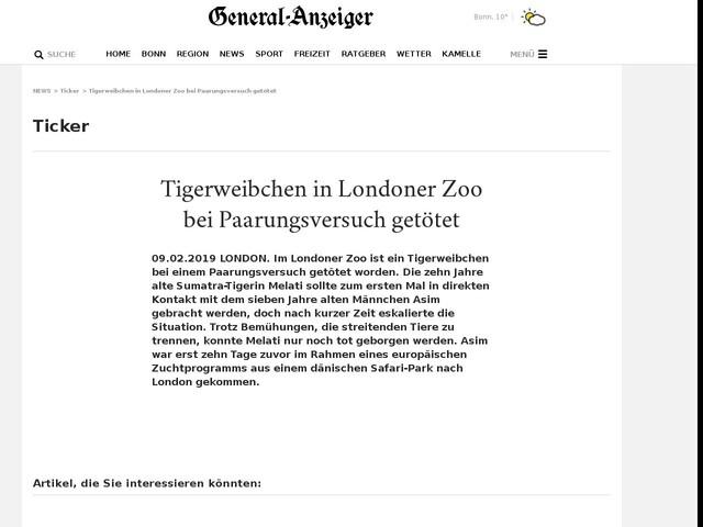 Tigerweibchen in Londoner Zoo bei Paarungsversuch getötet