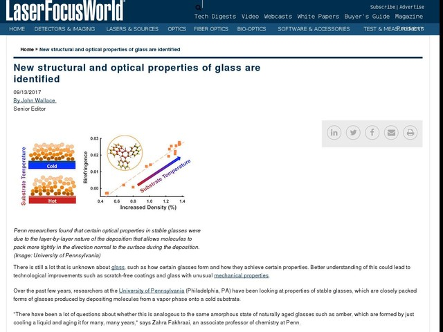 New structural and optical properties of glass are identified