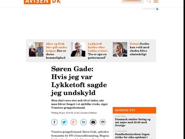 Søren Gade: Hvis jeg var Lykketoft sagde jeg undskyld