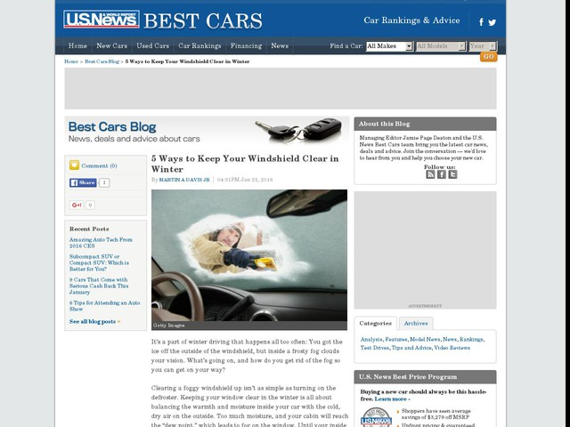 5 Ways to Keep Your Windshield Clear in Winter