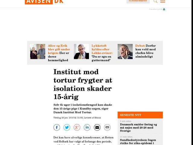 Institut mod tortur frygter at isolation skader 15-årig