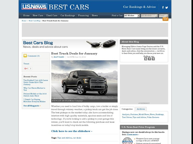 Best Truck Deals for January