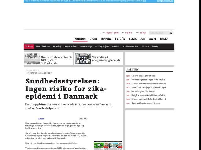 Sundhedsstyrelsen: Ingen risiko for zika-epidemi i Danmark