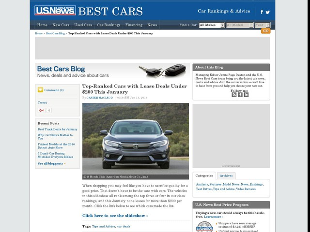 Top-Ranked Cars with Lease Deals Under $200 This January