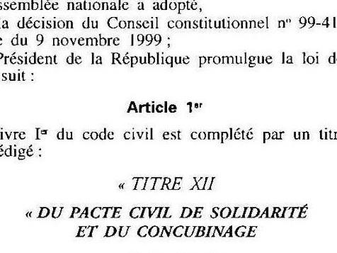 Les 20 ans du pacte civil de solidarité (PACS)