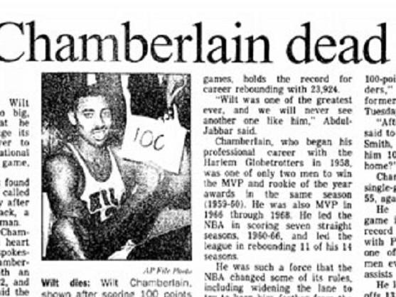 12 octobre 1999, Wilt Chamberlain nous quitta à l'âge de 63 ans
