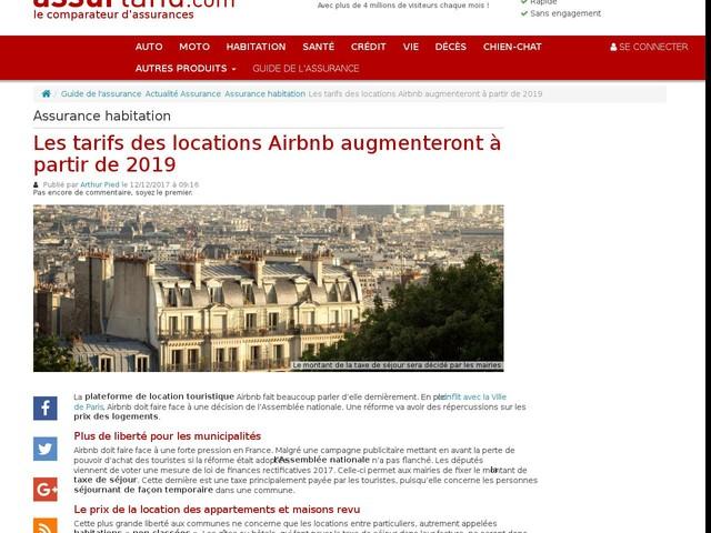 Les tarifs des locations Airbnb augmenteront à partir de 2019