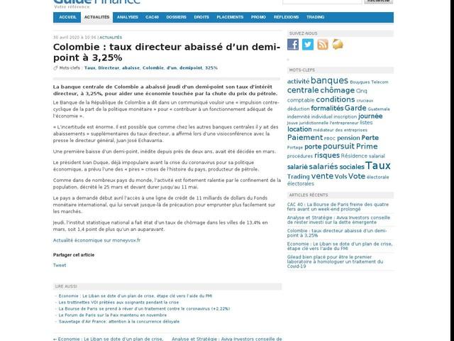 Colombie : taux directeur abaissé d'un demi-point à 3,25%