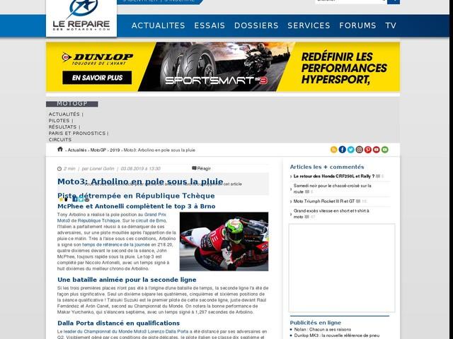 Moto3: Arbolino en pole sous la pluie