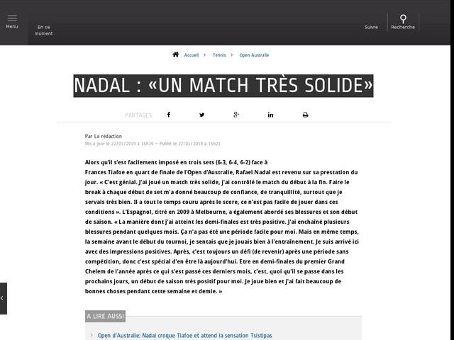 Tennis - Open Australie - Nadal : «Un match très solide»