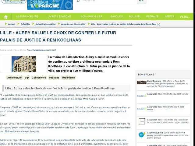 Lille : Aubry salue le choix de confier le futur palais de justice à Rem Koolhaas