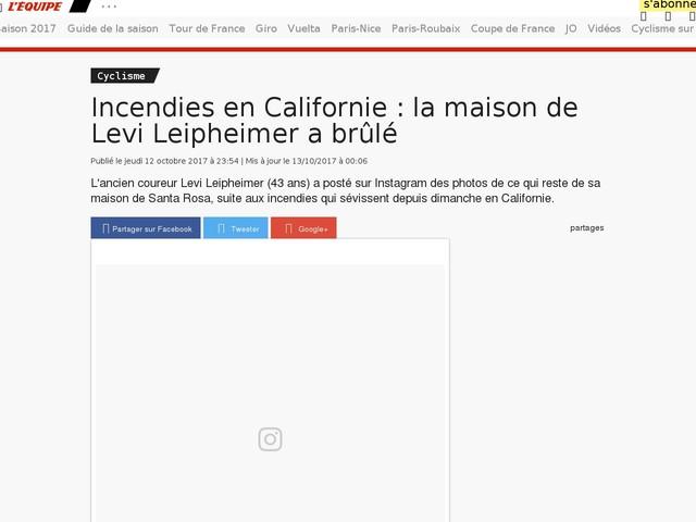 Cyclisme - Incendies en Californie : la maison de Levi Leipheimer a brûlé