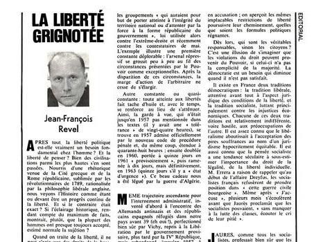 Revel, L'Express du 12 août 1968 : la liberté grignotée